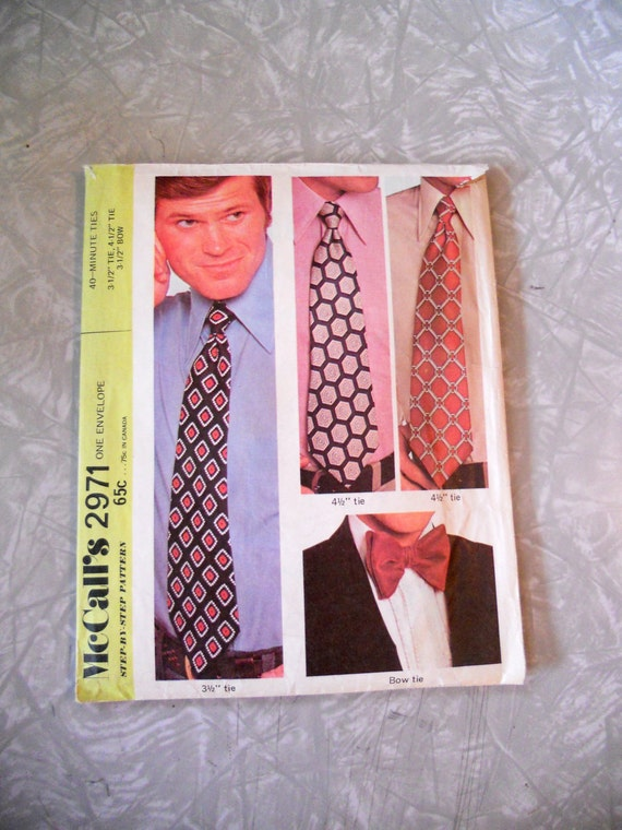 "McCalls 40 Minute Ties 3.5"", 4.5"" and Bow Tie  Pattern 2971"