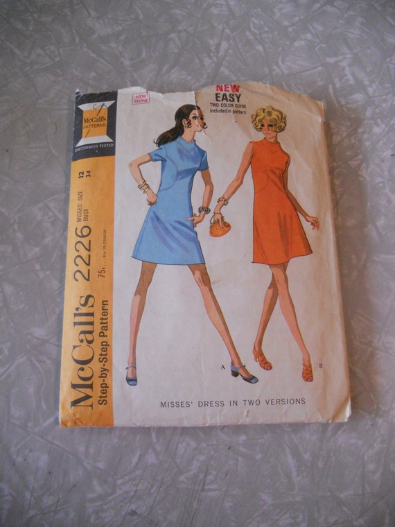 McCalls Misses A-line Dress in Two Versions Pattern 2226 size 12