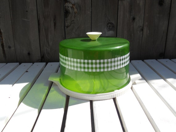 Green and White Plastic Cake Carrier