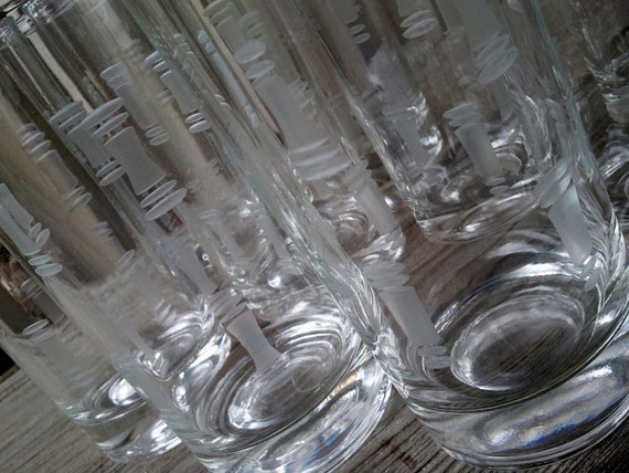 Set of 9 Modern Clear Etched Barware Glasses with Dash Dot Cuts