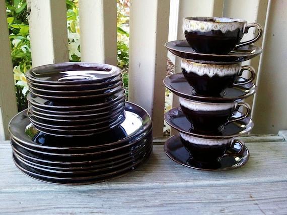 26 Piece Brown Drip Glaze Pottery Set