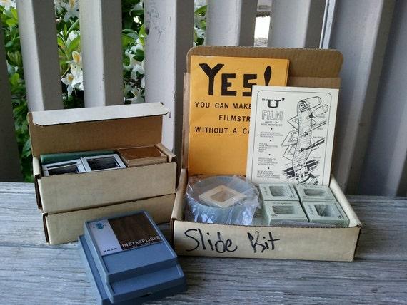 1960's U Film Write-on Slide Kit, Slides, Film and Splicer
