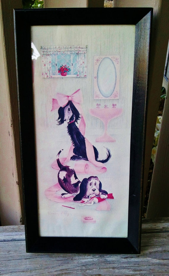 Dogs at Play in the Powder Room Wall Hanging