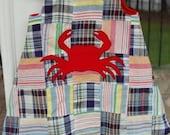 Madras dress with crab applique