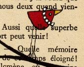 The Pearls 19 -- Original Ink Bird Illustration on Vintage Paper -- DeadpanAlley