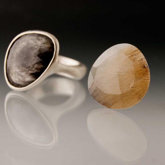 Pebble Ring, Rose Cut Golden RutileQuartz, Sterling Silver- Made to Order Gemstone Ring