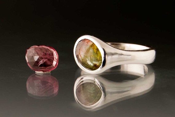 Rose Cut Tourmaline Pebble Ring, Sterling Silver, custom size Gemstone Ring