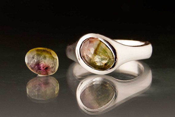 Rose Cut Watermelon Tourmaline Pebble Ring, Sterling Silver, custom size