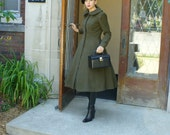 Vintage Tea-Length Wool Dress Coat (Redingote) with Flared Skirt - 1274 - listing is for all sizes