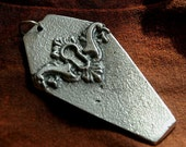 Death Over Time Hand Cast Aluminum Coffin Steampunk Casket Gothic Keyhole Pendant