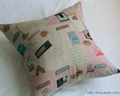 German Words and Texts Illustrated Linen PIllow Case(Cover, Slip) - Soft Pink