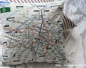 Metro de Paris Cotton and Linen Pillow Case(Cover, Slip) - French Striped Back