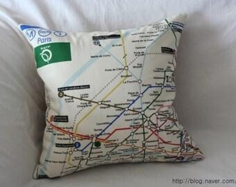 Small sized Metro de Paris Linen Pillow Case(Cover, Slip) - Oatmeal Back