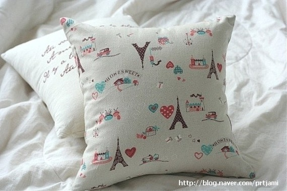 Cute Eiffel Tower Pattern Cotton and Linen Pillow CaseCover