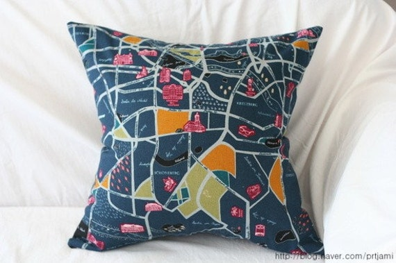 Berlin Map Illustrated Linen PIllow Case(Cover, Slip) - Navy