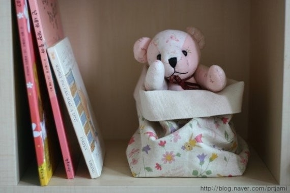 Fabric Basket - Natural Color Cotton Canvas and Sweet Little Kitty Pattern Linen - Pink
