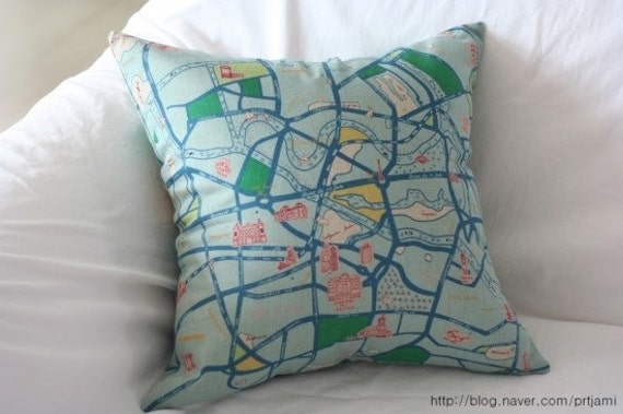 Berlin Map Illustrated Linen PIllow Case(Cover, Slip) - Mint Blue and Green
