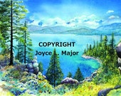"Watercolor print, ""Lake Tahoe Bliss"""