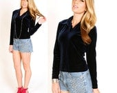 80's Navy Blue Velvet Top S Long Sleeve Crushed Velvet Grunge Collared Shirt