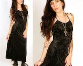 80's Black Velvet Maxi Dress XS/S Spaghetti Strap Criss Cross Back Halter Dress