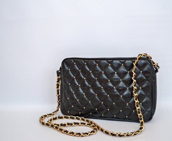 Black Quilted Chain Strap Purse Vintage By Shophellavintage