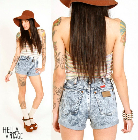 80's High Waisted Shorts Wranglers XS Acid Wash Shorts