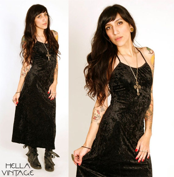 80's Black Velvet Maxi Dress XS/S Spaghetti Strap Criss Cross Back Halter Dress