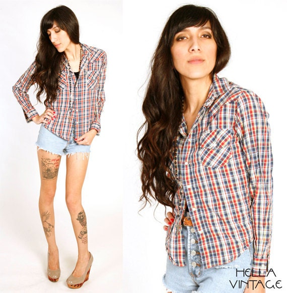 80's Plaid Western FLANNEL Button Up Shirt XS/S Red Blue Plaid Long Sleeve Fitted Blouse