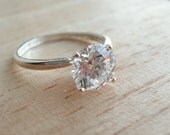 Cubic Zirconia Ring Sterling Silver April Alternative Birthstone Ready to ship size 8