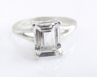 White Topaz Emerald Ring Sterling Silver Made To Order