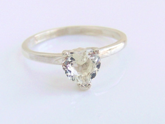 White Topaz Ring Sterling Silver April Birthstone Ring Ready to ship size 7