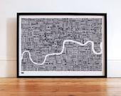 London Type Map - decorative screen print