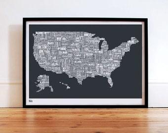USA Type Map - decorative screen print