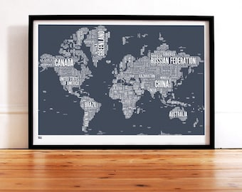 World Type Map - decorative screen print