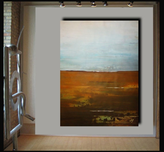 Giant 58x44 landscape abstract painting on canvas by Elsisy. Title: Asian Sea