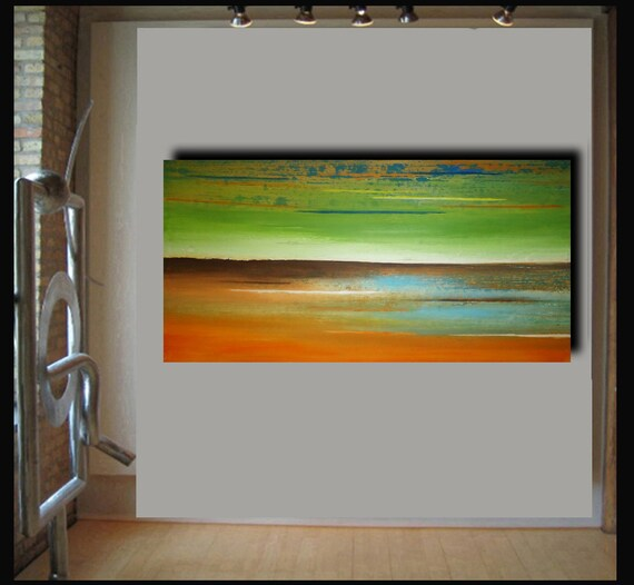 48x24 abstract landscape painting by Elsisy. Title: Winds of love