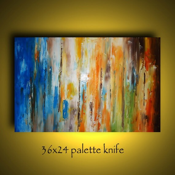 Buy 1 get 1 free sale. 36x24  palette knife abstract landscape painting by Elsisy. Title: Lost city