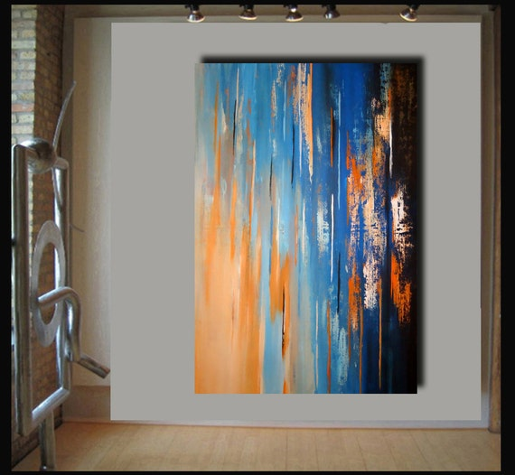 55x36 landscape abstract painting on canvas by Elsisy. Title: The deep