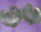 Set of Two Hollyhock Leaf Plates, Candle holders, Sushi Trays - Pottery - Green