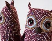 Small Fabric Owl Vintage Wool Plum Herringbone / Made to Order