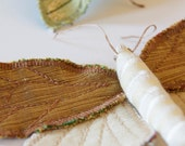Fabric Tortricid Moth Brooch/Ornament White and Gold Silk/ Made to Order