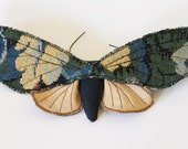 Reserved For Sara Limited Edition Tapestry Moth Soft Sculpture Blue and Gold