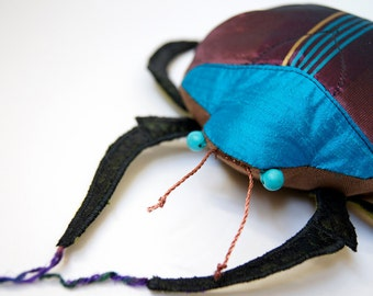 Scarab Beetle Art Soft Sculpture Fiber Insect Silk Coleoptera Natural History Gift Entomology Gift Insect Love Gift Luxury Woodland Gift