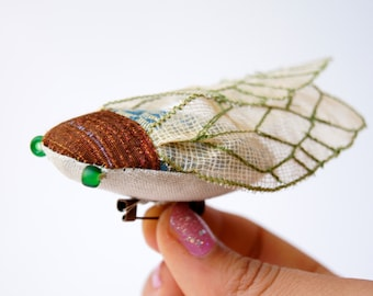 Cicada Statement Brooch Fiber Art Insect Natural History  Nature Lover  Woodland Fashion Accessory Gift for Women
