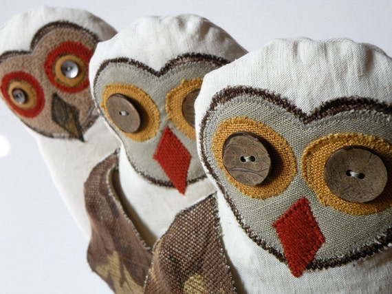 Fabric Owl  Bird / Vintage Linen / ready to ship / last one