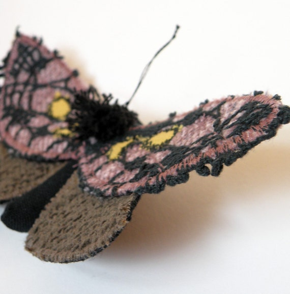 Handmade Fabric Spanish Moth Brooch / Lepidoptera / Vintage Lace