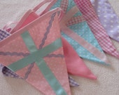 Union Jack PASTELS British Bunting Banner Great for a Party or a Girl's Room or Photo Prop Custom Made to Order