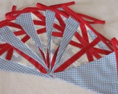 Union Jack British Bunting with Blue Toile Laura Ashley fabric made to order