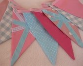 Union Jack PASTELS British Bunting Pink Blue with Laura Ashley fabric for a Party Celebration or Photography Prop Custom Made to Order