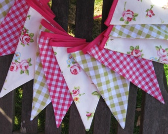 Pretty Pink and Green Gingham Banner Bunting ideal for Birthday Party Nursery Baby Shower Wedding or Photo prop Custom made to order